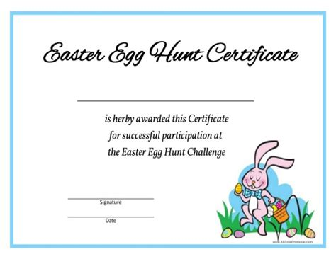 easter egg hunt certificate all free printable