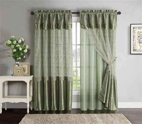 double layer curtains double layer window curtain drapery panel sage back panel