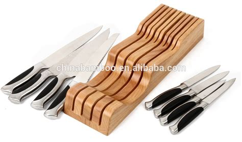In Drawer Knife Rack by In Drawer Bamboo Knife Block Drawer Knife Holder Knife