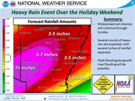 forecasters issue flood warnings in arkansas