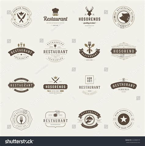 restaurant layout icons vintage restaurant logos design templates set stock vector