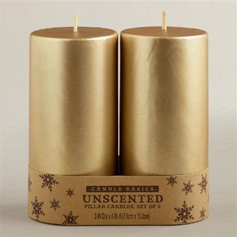 Gold Candle Pillars 3x6 Gold Pillar Candles 2 Pack World Market