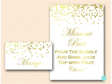 mimisya gold fnd labels gold dots mimosa bar sign with fruit labels magical
