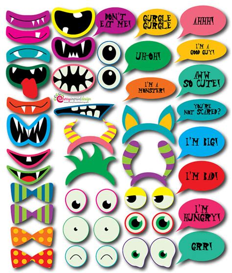 free printable monster photo booth props 39 hilarious instant download monster photo booth props great