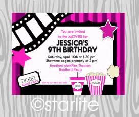 birthday party invitation girls pink movie theme