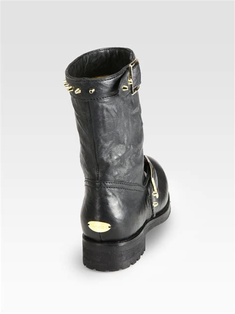 Leather Studded Jimmy Choo Dash Studded Leather Biker Boots In Black Lyst