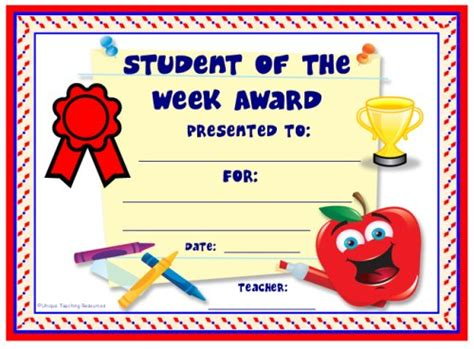 student of the week template achievement award certificates