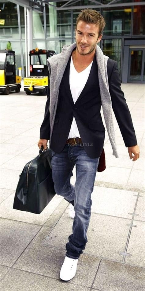 David Beckham Wardrobe by David Beckham Style Darkblue Blazer White