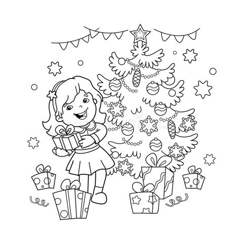 new year tree coloring page coloring page outline of cartoon girl with gift at