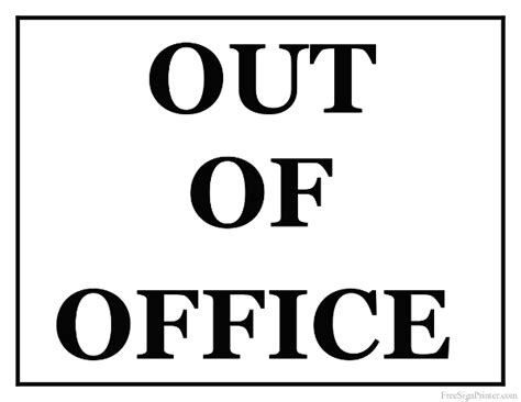 office door signs templates printable out of office sign