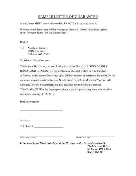 Guarantee Letter For Hotel Payment best photos of corporate guarantee letter sle company