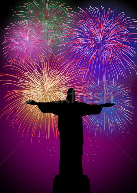 happy new year fireworks in rio brazil vector illustration
