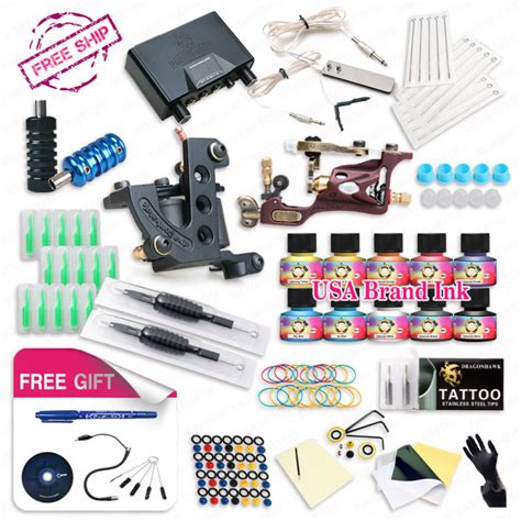 hot sales lots 2 x rotary tattoo machine guns full top free ship complete tattoo kit rotary tattoo machine