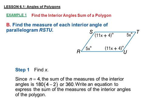 Find The Sum Of The Interior Angles Of An Octagon by Lesson 6 1 Angles Of Polygons Ppt
