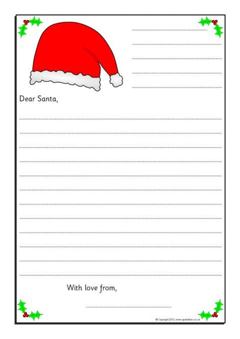 Simple Letters To Santa Writing Frames With Lines For Address The Letter And Closing Farewell Letter Template Sparklebox