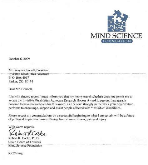 Acceptance Letter Research 2009 Research Award Bob Cocke Phd Invisible Disabilities Association Ida