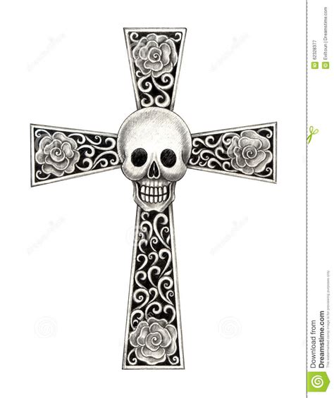 art skull cross tattoo stock illustration image of