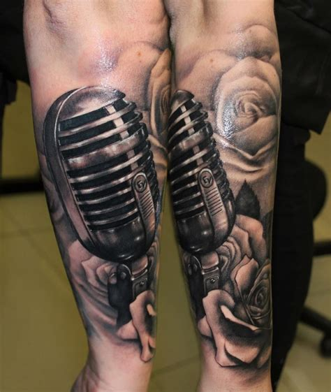 microphone and roses tattoo 35 microphone tattoos