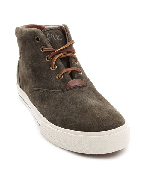 polo ralph zale grey sneakers in brown for lyst