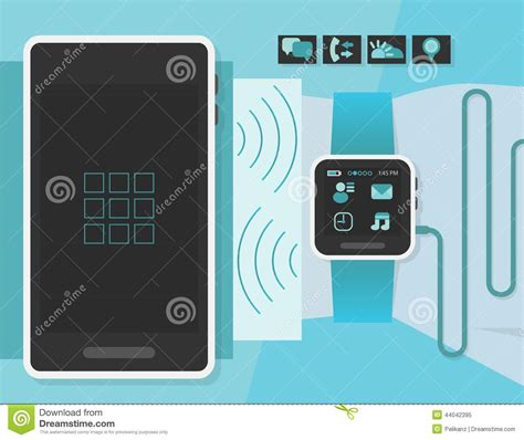 layout editor cell flat smart watch on a business man wrist with smart phone stock