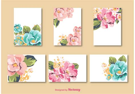 card template for flowers flower card vector templates free vector