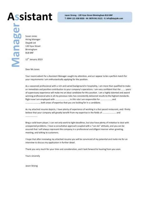 Cover Letter For Cv Manager Assistant Manager Resume Retail Cv