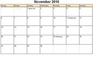 November Calendar Template by Free Printable November 2016 Calendar Template Pdf Excel