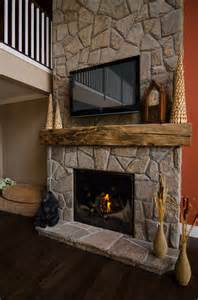 hewn barn beam mantels traditional living room