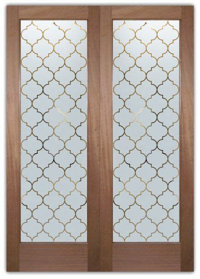 interior frosted glass doors etched ogee pattern door