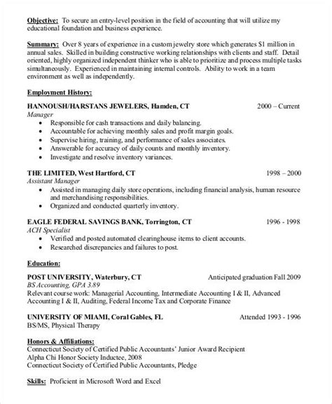 resume objective exles entry level accounting 15 accountant resume templates pdf doc free