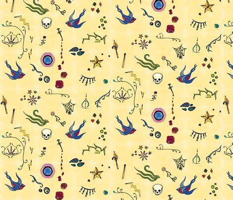 tattoo pattern fabric watercolor tattoo wallpaper leighr spoonflower