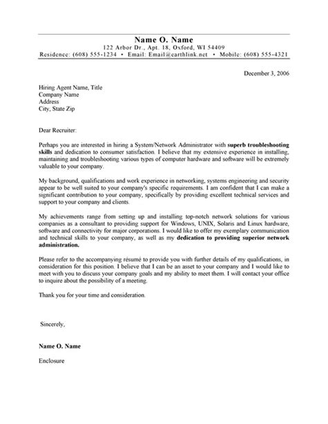 cover letter for network administrator systems administrator cover letter exle