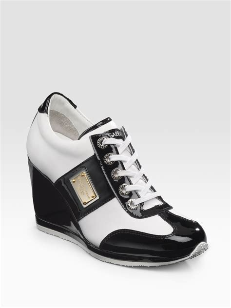 dolce gabbana wedge laceup sneakers lyst
