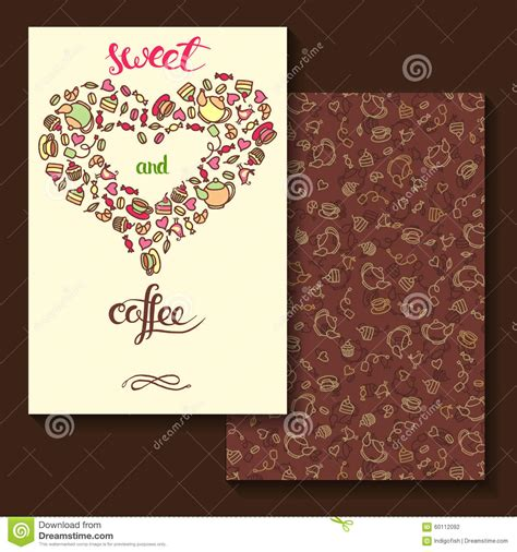 Letter Card Design Sweeet And Coffee Two Sides Card Design Stock Vector Image 60112092
