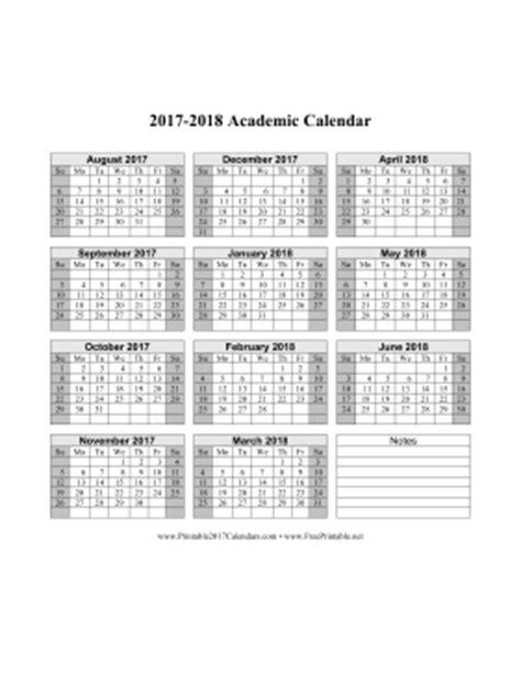 Printable 2017 2018 Academic Calendar 2017 2018 School Year Calendar Template