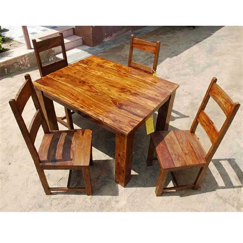rustic dining room with wooden 4 bordeaux dining chairs rustic mission santa cruz solid wood dining room set for 4