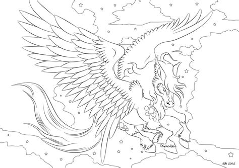 pegasus coloring in page 4 by darkly shaded shadow on