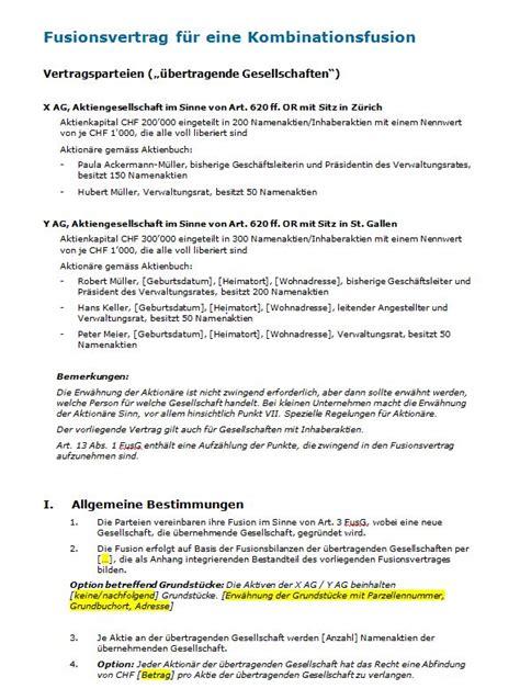Vertragsvorlagen Muster Fusionsvertrag Kombinationsfusion Muster Zum