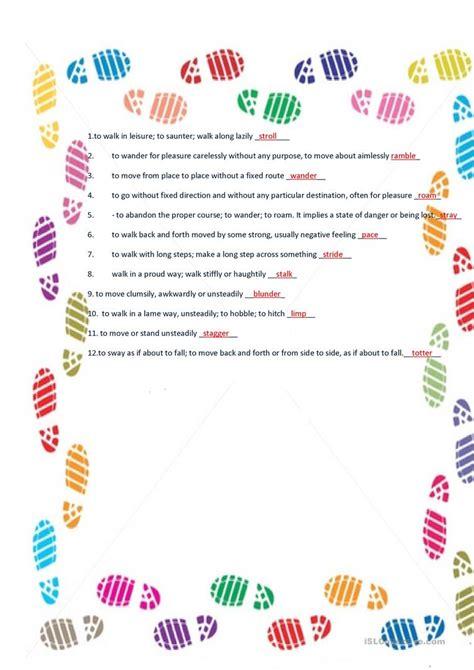 pattern verb synonym synonyms of walk worksheet free esl printable worksheets