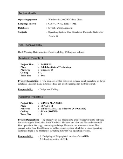 operating systems resume resume ideas