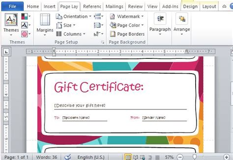 Gift Card Of Your Choice Template by Gift Certificate Maker Template For Word 2013