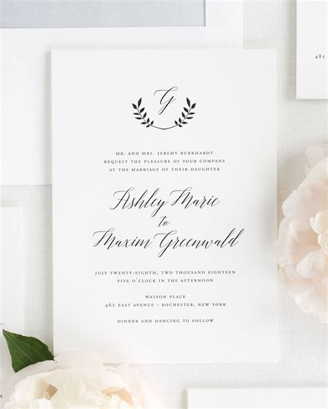 Monogram Wedding Invitations by Wreath Monogram Wedding Invitations Wedding Invitations