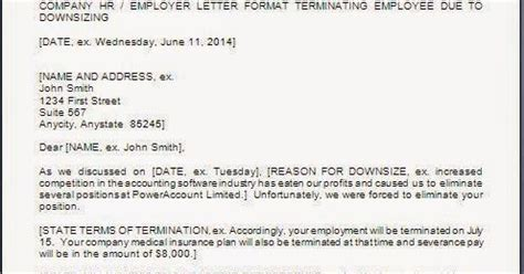 termination letter sle due to downsizing sle termination letter to employee due to downsizing