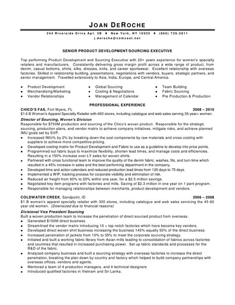 Apparel Product Manager Sle Resume by De Roche Joan Formatted Resume 4 7 10