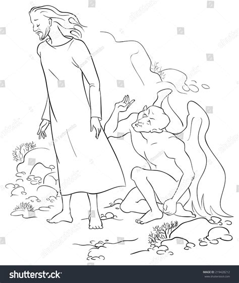 coloring pages jesus tempted in the desert devil tempted jesus desert vector cartoon stock vector