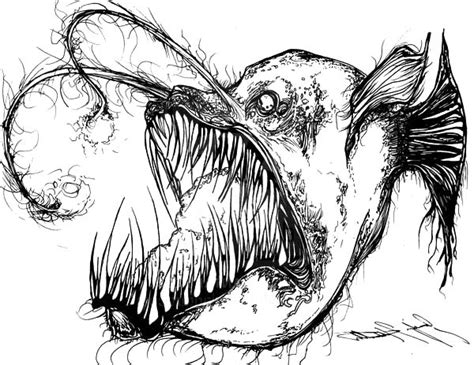 angler fish is fish from hell coloring pages angler fish