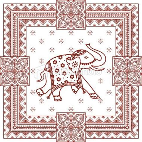 indian pattern frame elephant indian culture henna tattoo pattern vector