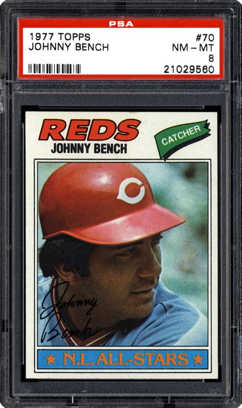 johnny lee bench 1977 topps johnny bench psa cardfacts