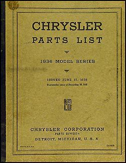 chrysler original parts 1936 chrysler parts book original