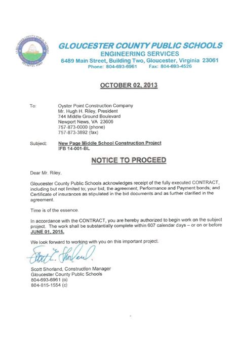 Letter Of Intent To Purchase Real Estate Virginia Page Notice To Proceed Letter Of Intent
